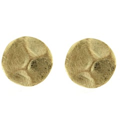 Jona Brushed 18 Karat Yellow Gold Stud Earrings