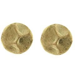 Jona Brushed 18 Karat Yellow Gold Stud Earrings