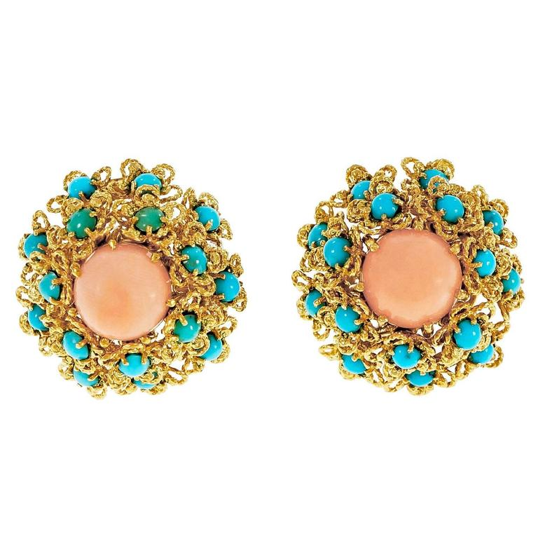 Coral Turquoise Dome Button Cluster Gold Earrings  1