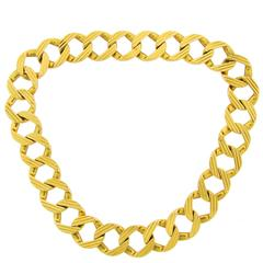 1970s CARTIER Gold Interchangeable Curb Link Chain Necklace Bracelet Pair