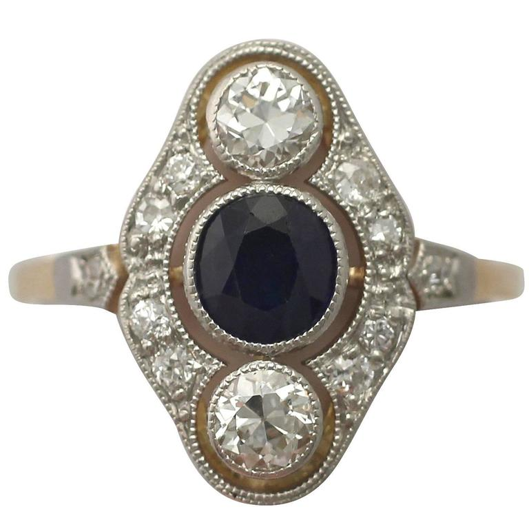 1940s Sapphire and Diamond Yellow Gold Cocktail Ring For Sale