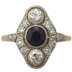 1940s Sapphire and Diamond Yellow Gold Cocktail Ring