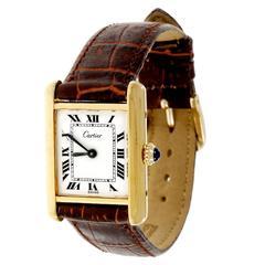 Cartier Ladies Tank Manual Wind Silver Vermeil Case Wristwatch