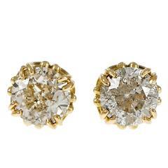 Diamond Transitional Cut Open Work Gold Stud Earrings