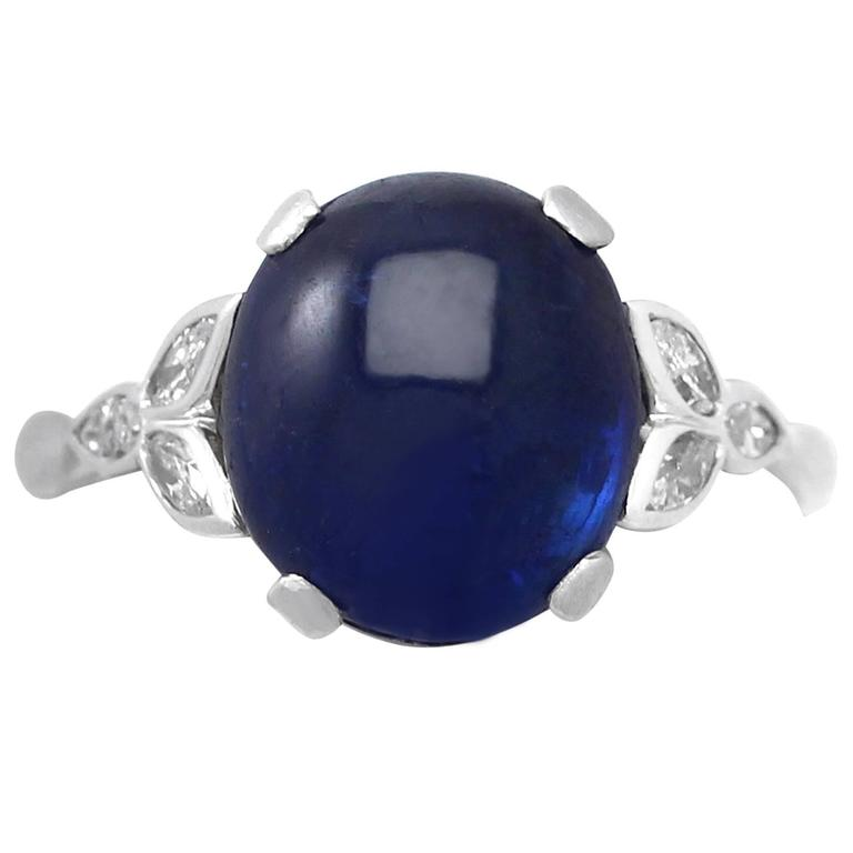 1930s 6.80 Carat Sapphire and Diamond Platinum Cocktail Ring