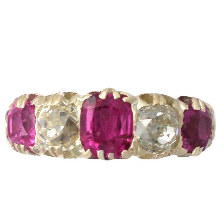 1860s Antique 1.38 Carat Burmese Ruby and 1.12 Carat Diamond, Yellow Gold Ring 1