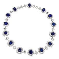 Sapphire and Diamond Platinum Necklace by J. Roca