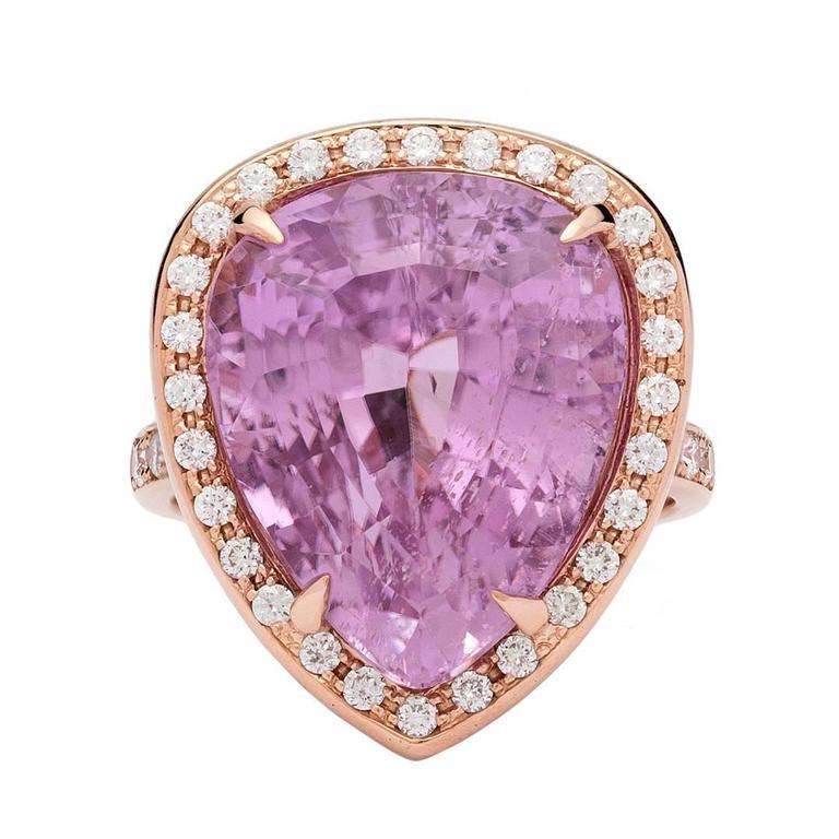 Contemporary Pear Shape Kunzite & Diamond Rose Gold Ring