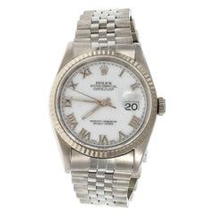 Rolex Steel Datejust White Dial Roman Numeral Wristwatch ref 16234