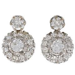 Diamond Dangle Mid-Century Gold Earrings