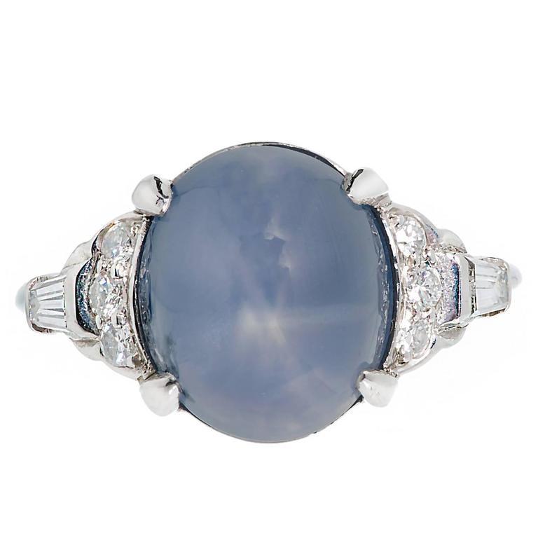 Lambert Brothers 9.80 Carat Star Sapphire Diamond Platinum Ring