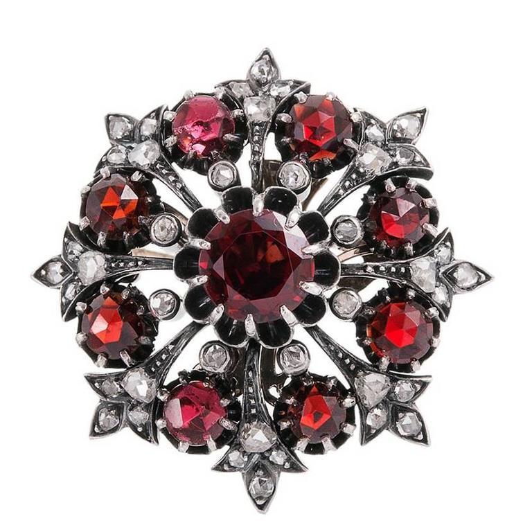 Victorian Garnet & Diamond Cluster Brooch