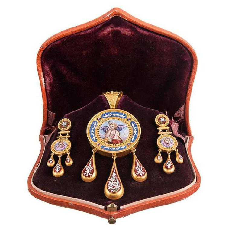 Antique Victorian Cherub Motif Micromosaic Gold Pin Pendant  Earrings Suite