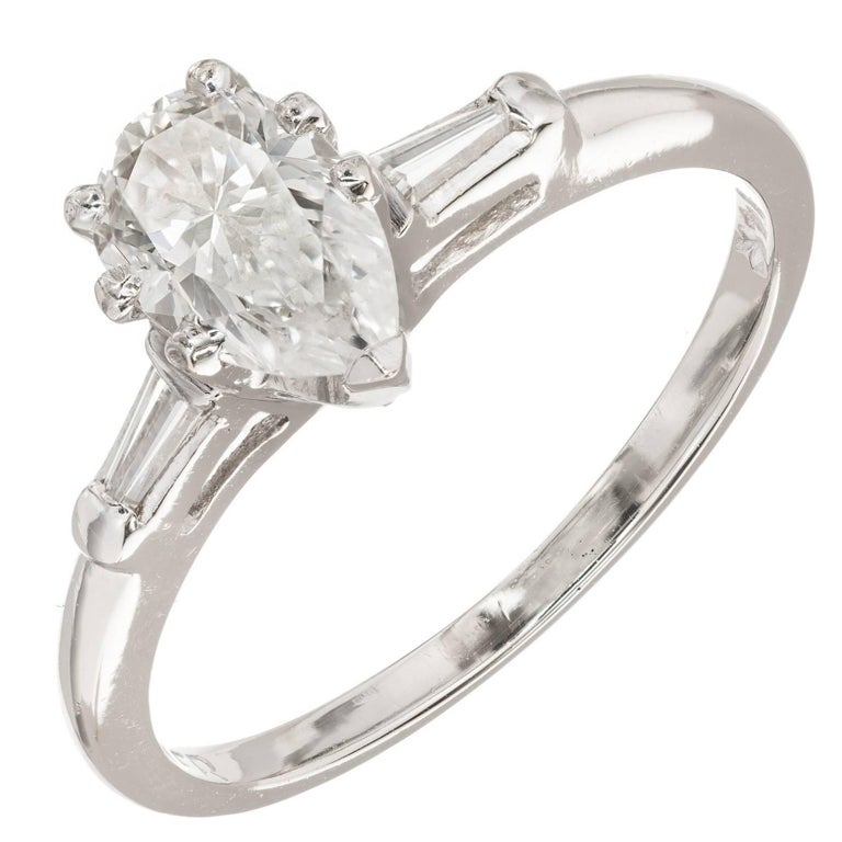 EGL Certified Pear Shaped Diamond Three-Stone Gold Engagement Ring