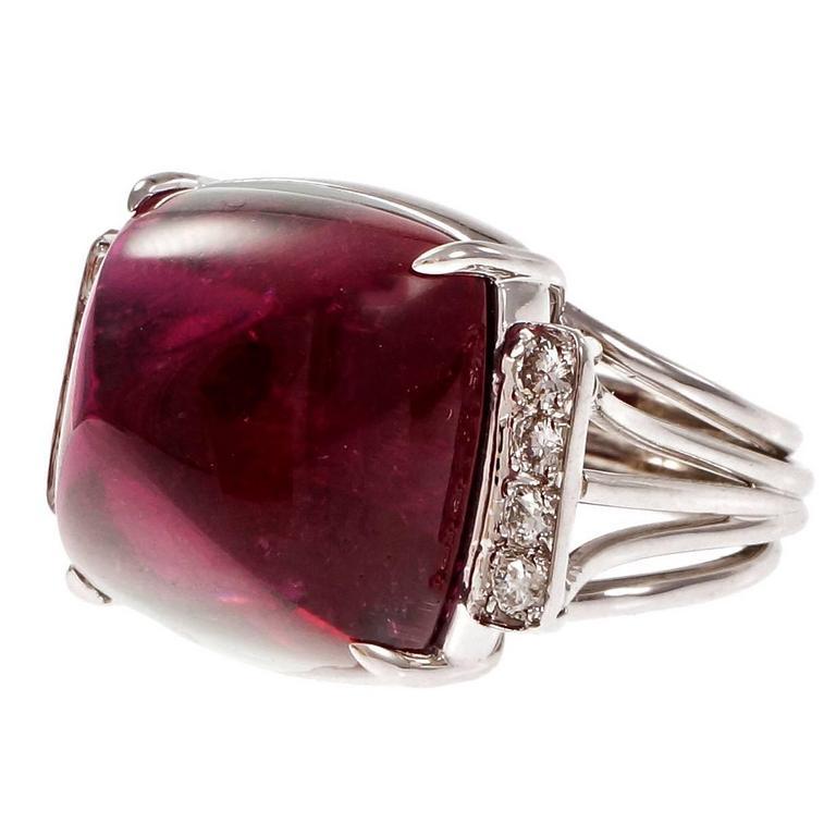 Sugar Loaf Cabochon Red Tourmaline Rubellite Diamond Platinum Cocktail Ring