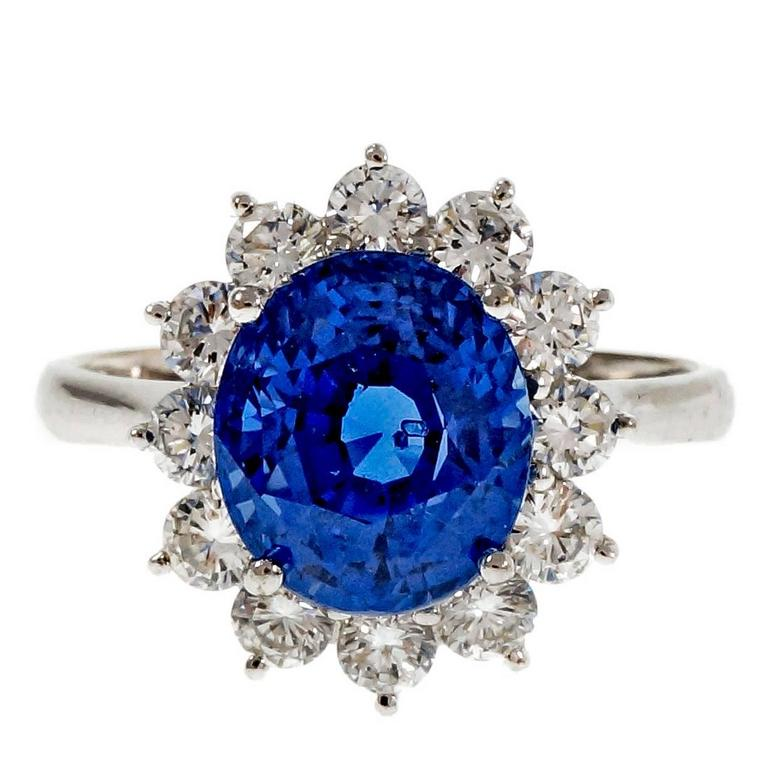 Natural Oval Sapphire Diamond Halo Gold Engagement Ring