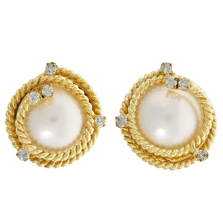 Mabe Cultured Pearl Diamond Gold Swirl Earrings  1