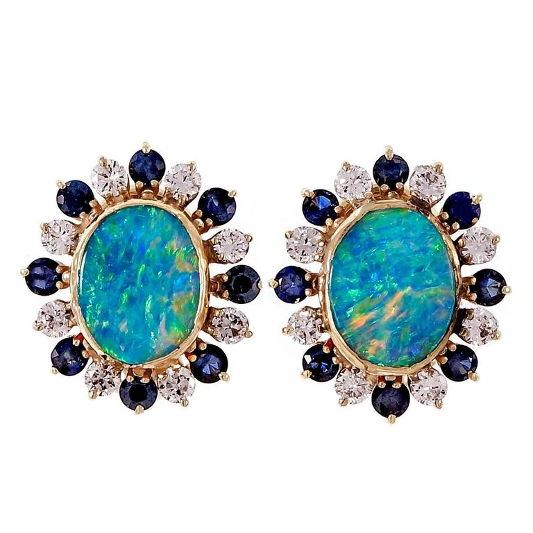 Boulder Opal Sapphire Diamond Gold Clip Post Earrings