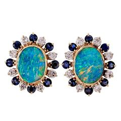 Boulder Opal Sapphire Diamond Gold Clip Post Earrings