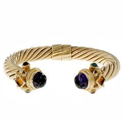 Amethyst Topaz Garnet Citrine Gold Cuff Bangle Bracelet