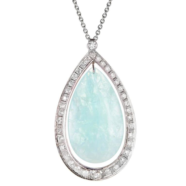 75.00 Carat Aquamarine Diamond Halo Platinum Pendant Necklace
