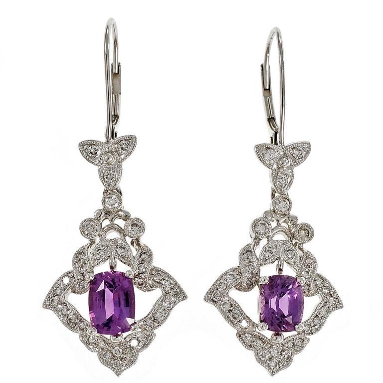 Peter Suchy Purple Sapphire Diamond Dangle Platinum Earrings