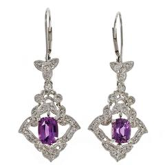 Peter Suchy Purple Sapphire Diamond Dangle Platinum Earrings