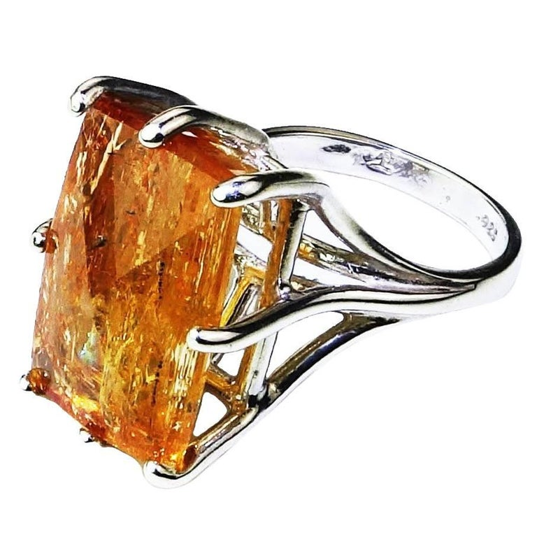 Peach-Orange Rectangular Imperial Topaz in Sterling Silver Ring