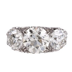 18 Karat White Gold and Diamond English Carved Ring