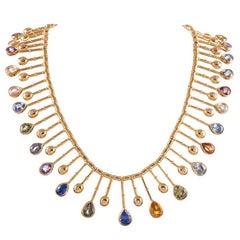 "58.59 ""No Heat"" Sapphire and Diamond Collar"