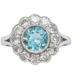 1950s 1.34 Carat Aquamarine and Diamond White Gold Cluster Ring