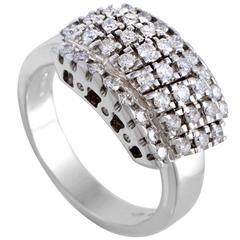 Damiani White Gold Diamond Pave Rectangle Band Ring