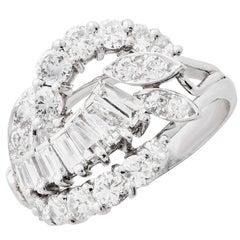 2 Carat Total Weight Cocktail Diamond Platinum Ring