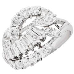 2 Carat Total Weight Cocktail Diamond Platinum Ring
