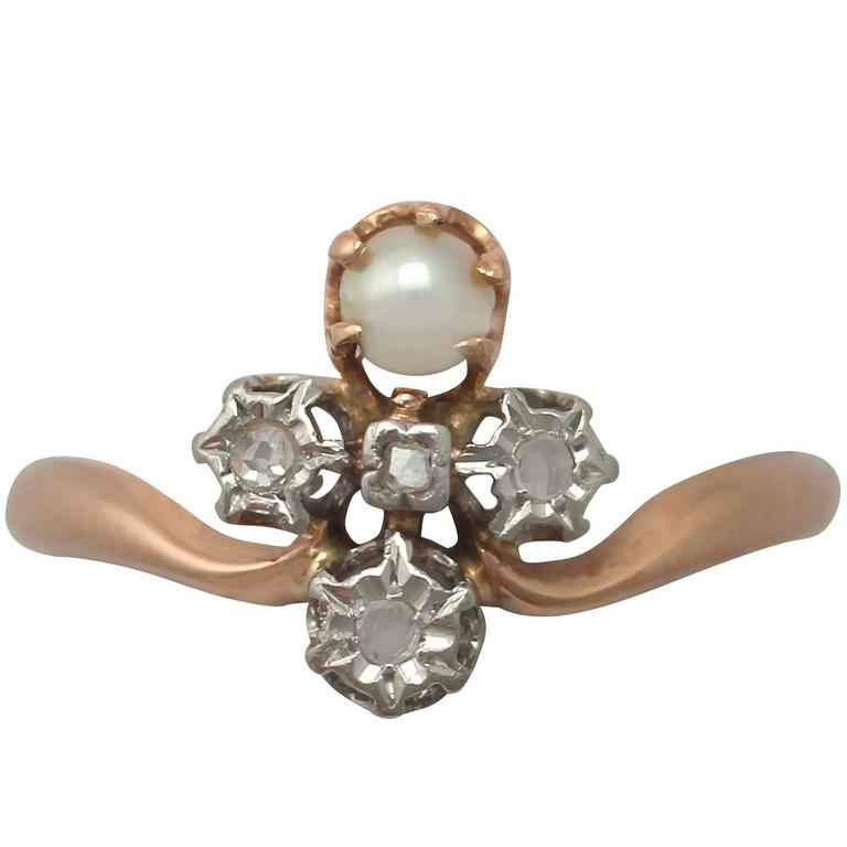 1900s Antique French Pearl and 0.09 Carat Diamond, Rose Gold Dress Ring 1