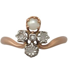 1900s Antique French Pearl and 0.09 Carat Diamond, Rose Gold Dress Ring
