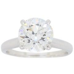2.22 Carat Round Transitional Cut Diamond Engagement Ring