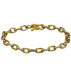 Jean Mahie 22 Karat Gold and Platinum Cadene Chain Bracelet