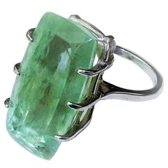 Green Beryl Sterling Silver Cocktail Ring