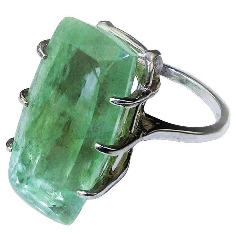 Rectangular Green Beryl Sterling Silver Ring