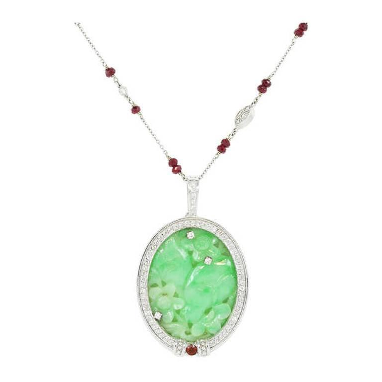 Carved Jade Ruby Diamond Gold Pendant and by the Yard Style Chain 1