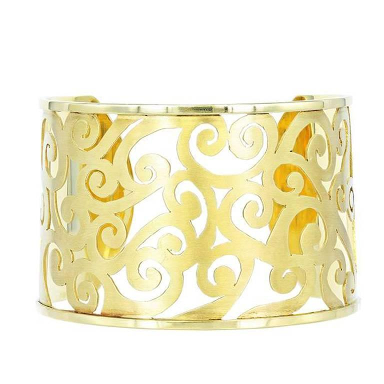 Gold Open Work Cuff Bracelet