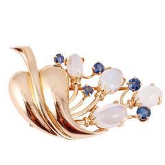 14 karat yellow gold, moonstone and blue sapphire brooch