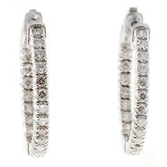 Diamond Inside Out White Gold Hoop Earrings