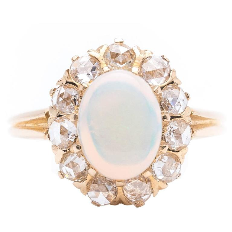 Victorian Opal Rose Cut Diamond Ring 1