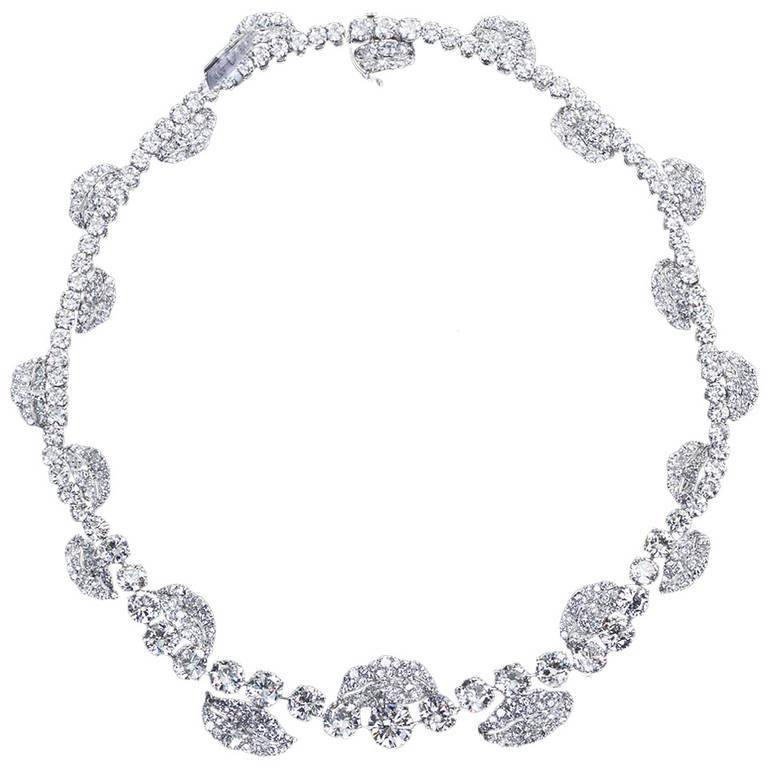 French Garland Diamond Platinum Necklace 52 Carats For Sale