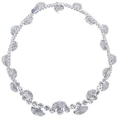 French Garland Diamond Platinum Necklace 52 Carats