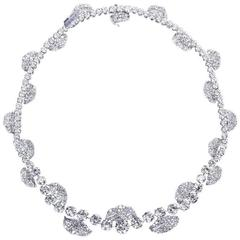 French Garland Diamond Platinum Necklace