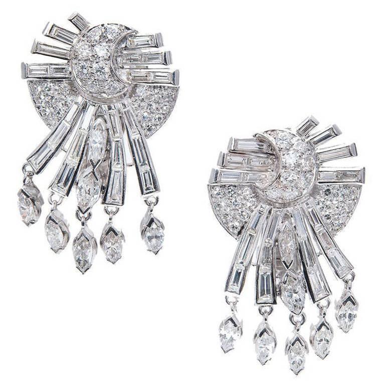 Mid-Century Diamond White Gold Dangle Earrings 1