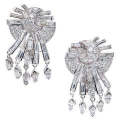 Mid-Century Diamond White Gold Dangle Earrings